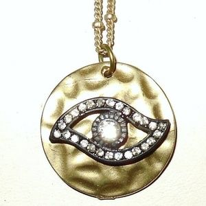 Jewelry - Matte Gold Hammered Evil Eye Protection Necklace